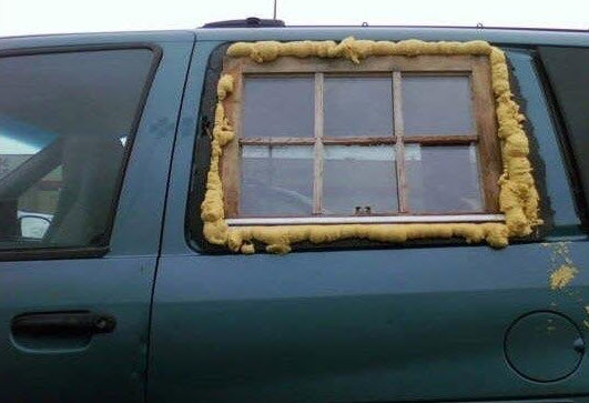 horrible custom window in a car