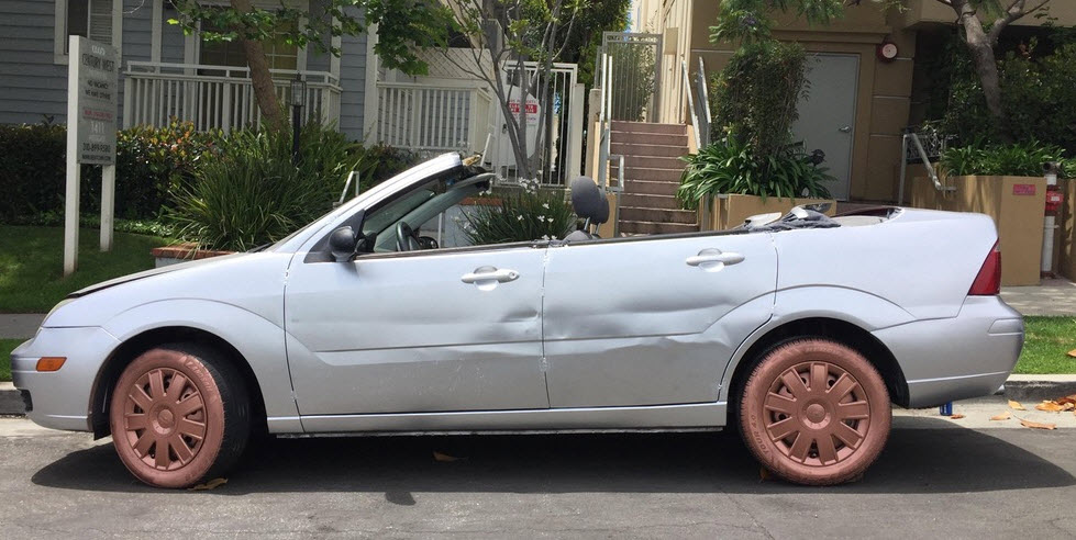custom convertible ford focus with ugly painted rims