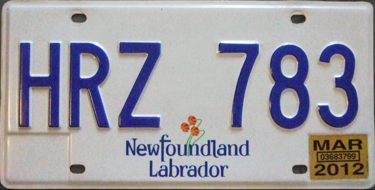 newfoundland & labrador license plate