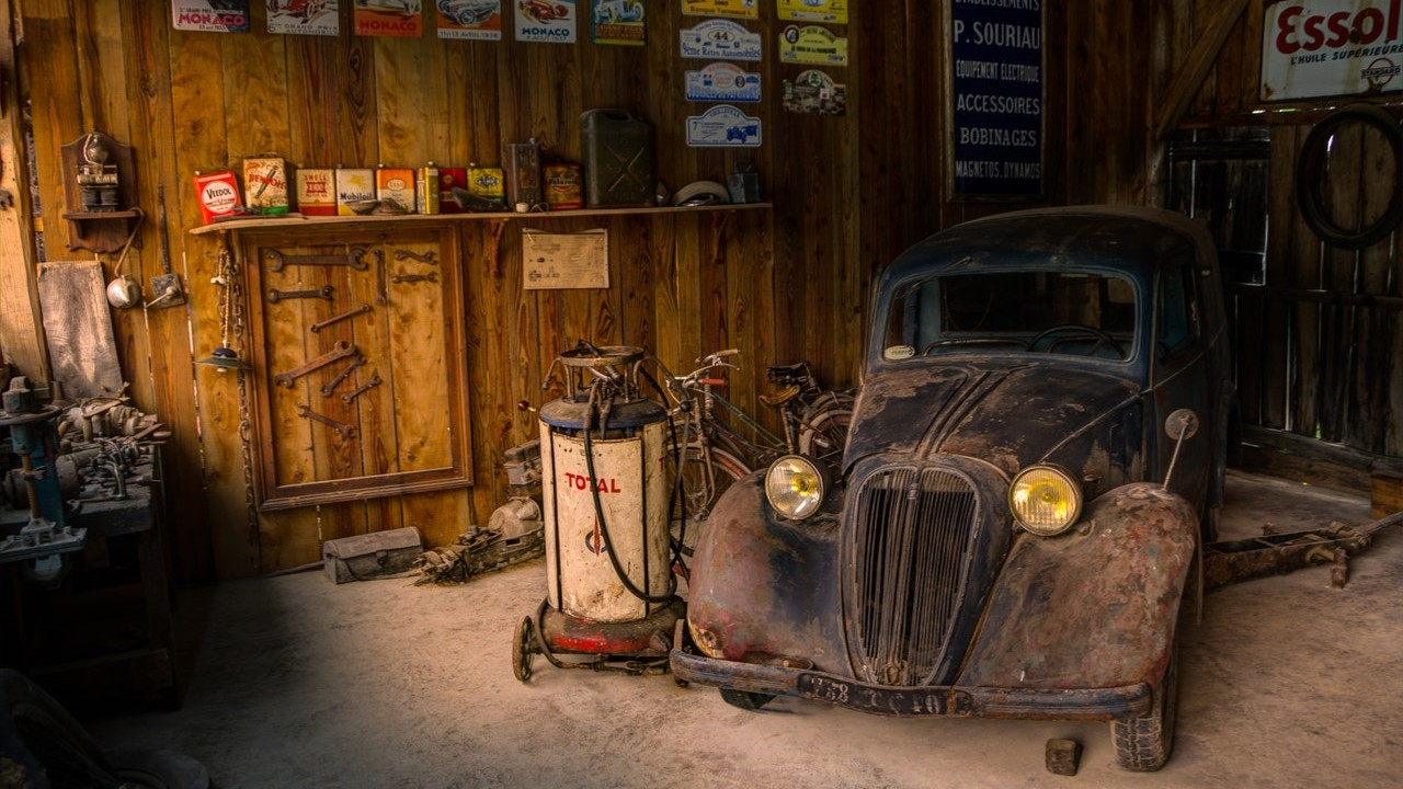 old car in a garage